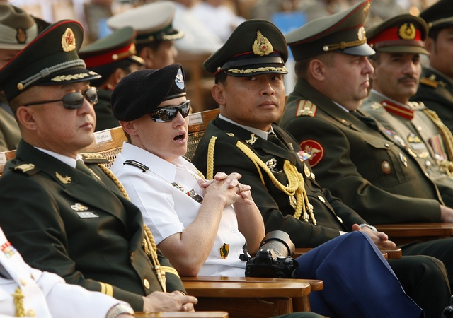U.S. military attache Colonel Brey Sloan and other attaches attend the Armed Forces Day parade in Myanmar's capital Naypyidaw