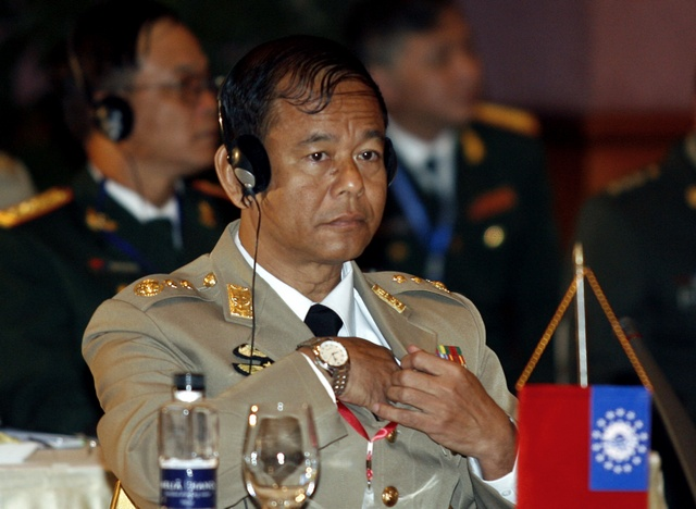 Myanmar's Chief of Military Intelligence Lieutenant General Ye Myint attends an informal meeting of ASEAN chiefs of defence forces in Hanoi