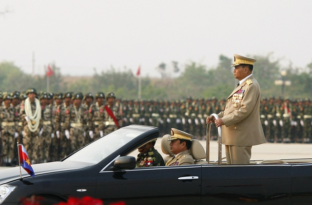 Myanmar's junta supremo Senior General Than Shwe attends the Armed Forces Day parade in Myanmar's capital Naypyidaw
