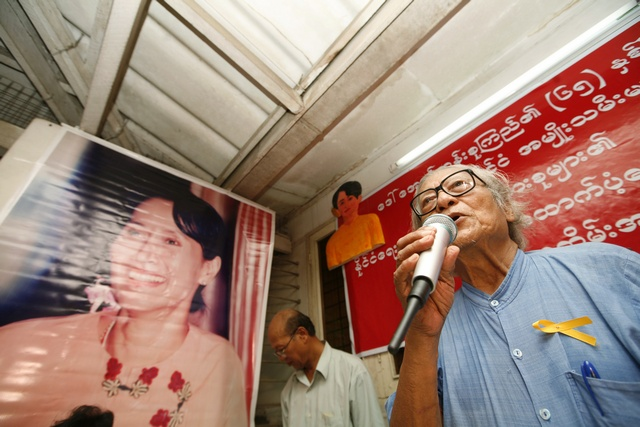 Senior NLD leader Win Tin speaks during a celebration of Myanmar's pro-democracy leader Aung San Suu Kyi's 65th birthday in Yangon