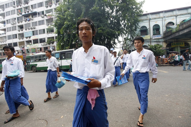 Members of the National Unity Party (NUP) campaign for Myanmar's upcoming elections in Yangon