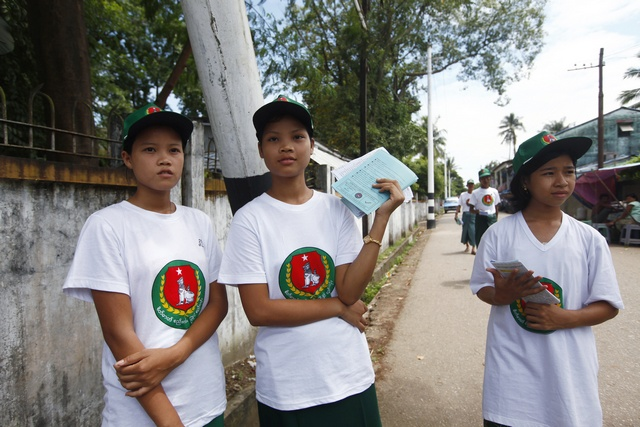 Members of the Union Solidarity and Development Party (USDP) campaign for Myanmar's upcoming elections, in Yangon
