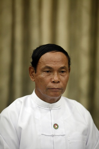 Aung Thein Lin, Yangon's mayor and a candidate from the USDP, attends a news conference at the party's headquarters in Yangon