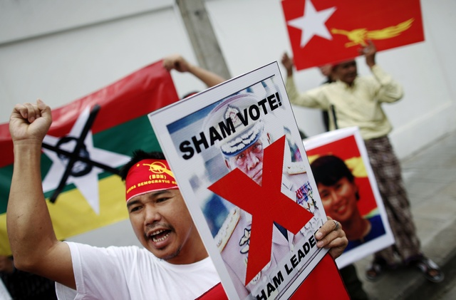 Pro-democracy activists attend a protest denouncing the military-led election in front of the Myanmar embassy in Bangkok