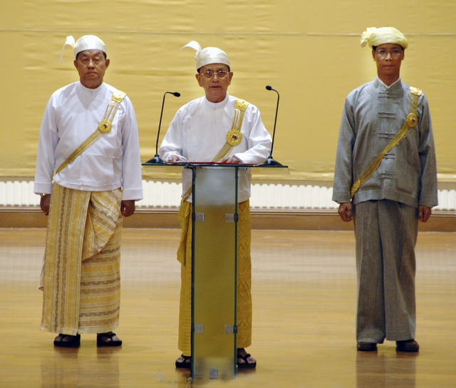 Myanmar's newly elected President Thein Sein delivers a speech during a ceremony in parliament, in Naypyitaw