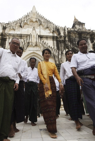 Pro-democracy leader Aung San Suu Kyi and her son Kim Aris visit the ancient Bagan Pagodas in Bagan