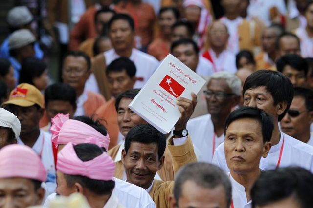 Delegates are seen after attending the NLD party congress in Yangon
