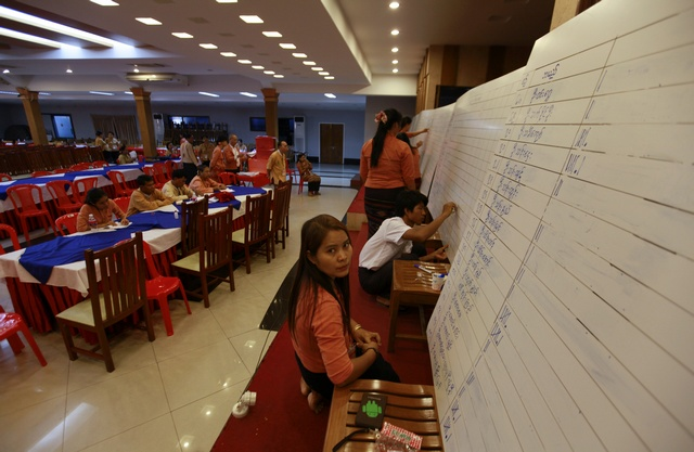 Members of the NLD count votes at the party's congress in Yangon