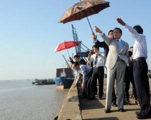 In this file photo from 2013, Taro Aso (2nd R), the Japanese finance minister and deputy prime minister, gestures during his visit to the Thilawa industrial zone near Rangoon. (PHOTO: AFP)