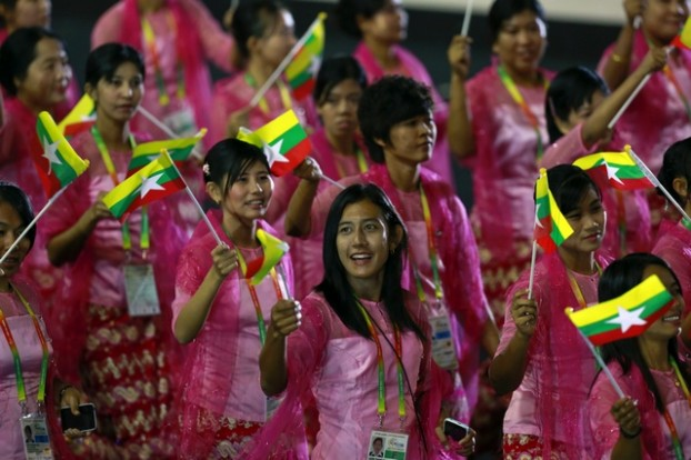 Myanmar's athletes take part in a parade during the opening ceremony of the 27th SEA Games in Naypyitaw