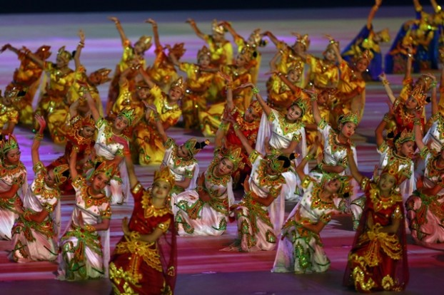 Dancers perform during the opening ceremony of the 27th SEA Games in Naypyitaw