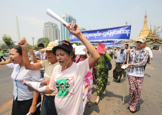 About 200 people gathered at Rangoon's City Hall on Thursday to mark May Day. (PHOTO: DVB)