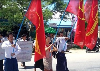 Students participate in a protest rally at Sagaing,on 1September 2014. (PHOTO:DVB)