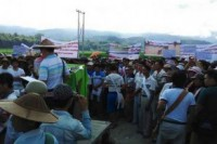 Farmers gathered in Namhkam, northern Shan State, on Friday to protest against silica mining, which they say has damaged farmlands and streams. (PHOTO: DVB)