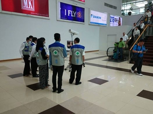 A health screening team at Rangoon's Mingalardon International Airport (PHOTO: Myanmar Centre for Disease Control and Prevention).