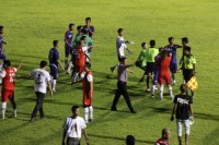 Celebrities gone wild - a brawl between actors and comedians forced the referee to temporarily halt a charity football match in Rangoon on Sunday, 26 October 2014. (PHOTO: DVB)