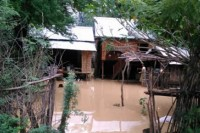 A house affected by floods in Kanyin village, Magwe, pictured on 19 October 2014. (PHOTO: DVB)