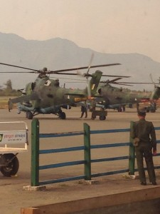 Burmese military helicopters, pictured by an independent researcher at Lashio airport at 3pm on 10 February 2015.