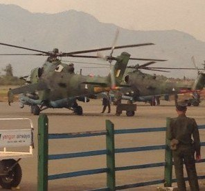 Burmese military helicopters, pictured by an independent researcher at Lashio airport on 10 February 2015.