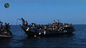 File photo of Rohingya boat people in the Andaman. (Reuters screenshot)