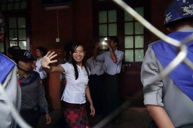 Phyo Phyo Aung appearing at the Tharawaddy courthouse on 8 June. (PHOTO: DVB).