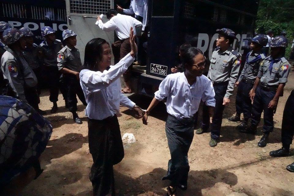 Activists appear at the Tharawaddy courthouse for their seventh hearing on Tuesday. (PHOTO: DVB)