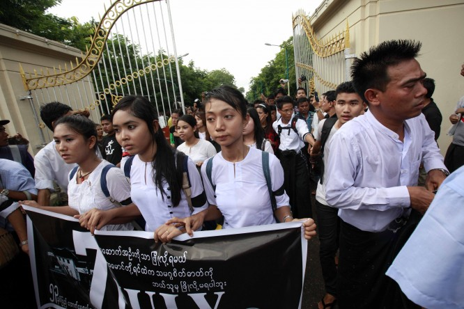 Two arrested after students' rally at Rangoon University