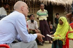 UN Assistant High Commissioner for Protection Volker Türk speaks with a woman in a Rohingya village near Maungdaw, 12 July 2015. (PHOTO: UNHCR)