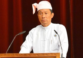Shwe Mann speaking in Parliament. (PHOTO: Pyithu Hluttaw).