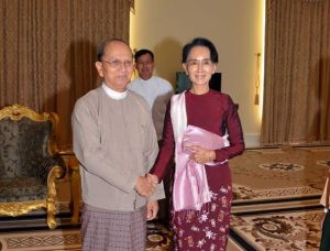 President Thein Sein met with Suu Kyi for the first time post-election. (PHOTO: DVB)