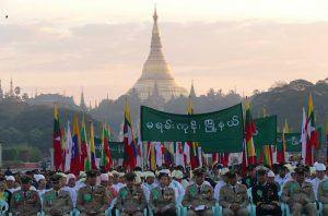 The Burmese military 68th Independence Day ceremony in the People's Square, Rangoon. (PHOTO: DVB)