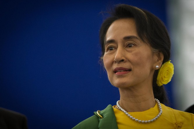 Two men charged for obscene rant against Suu Kyi
