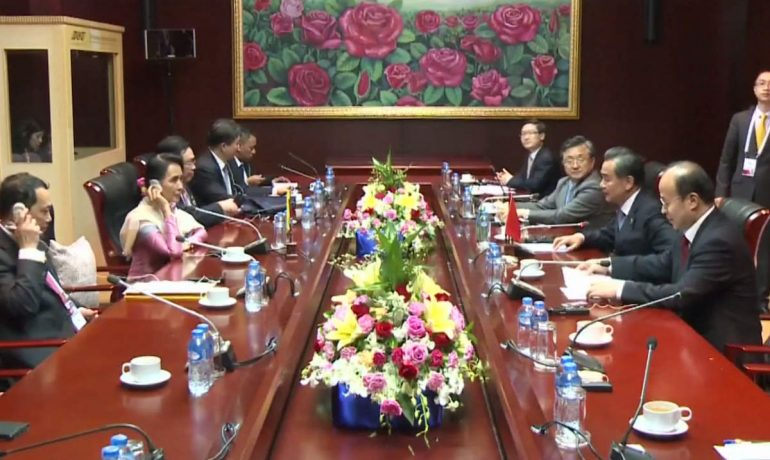 Suu Kyi discusses bilateral ties with Chinese FM