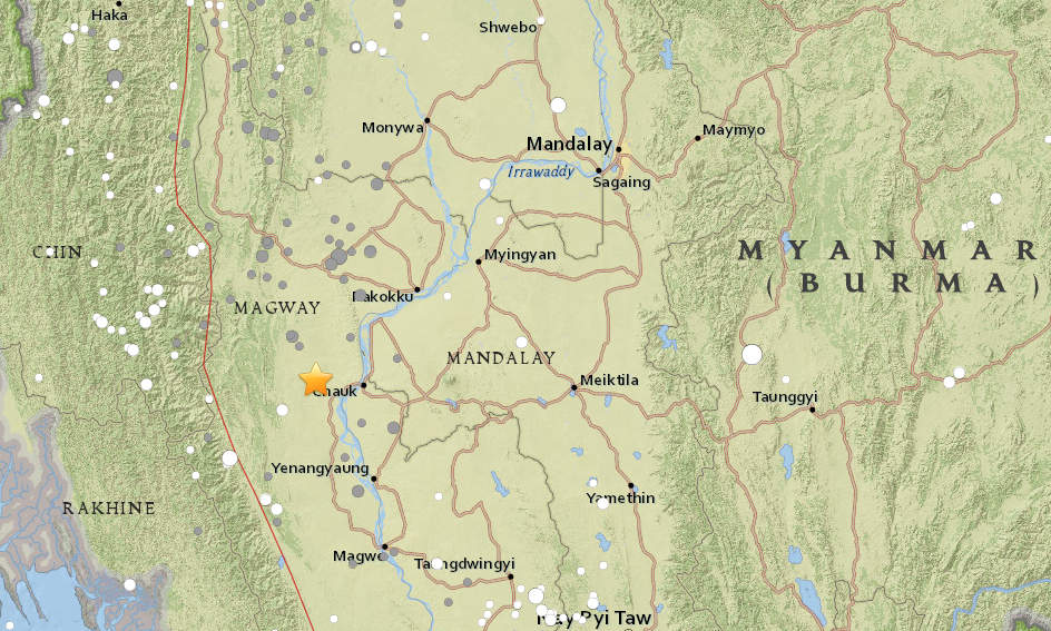Earthquake strikes central Burma; no reports of casualties