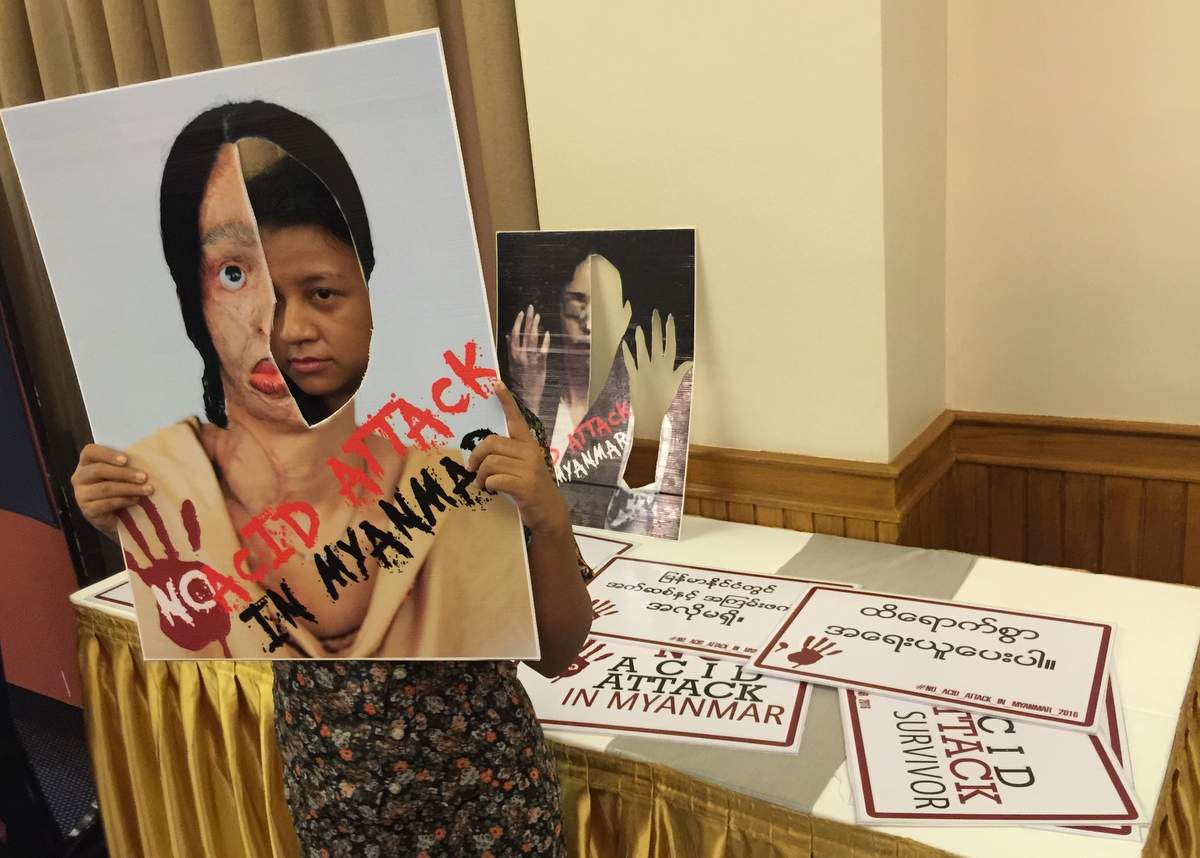 Women meet to show support for acid-attack victim
