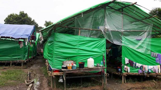 Makeshift shelters litter a church compound in Tanai, Kachin State. (PHOTO: DVB)