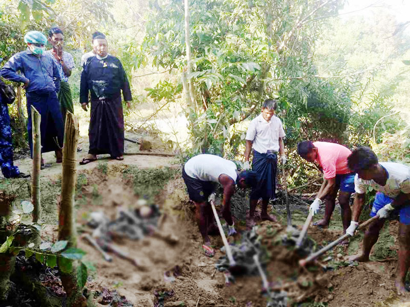 10 bodies unearthed from mass grave in Rakhine