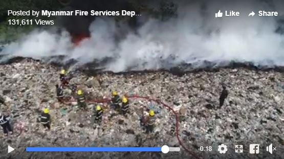 Firefighters struggle to contain landfill fire in Hlaing Tharyar