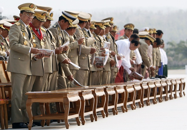 Myanmar's PM General Thein Sein and other junta leaders attend the Armed Forces Day parade in Myanmar's capital Naypyidaw