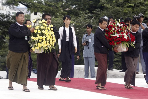 Myanmar's pro-democracy leader Aung San Suu Kyi attends an event marking the anniversary of Martyrs' Day at the Martyrs Mausoleum in Yangon