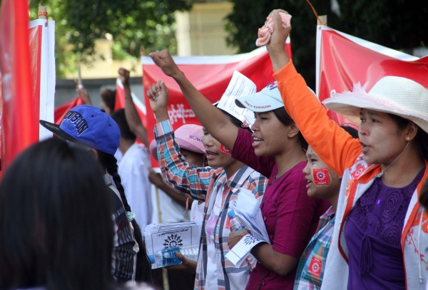 Workers' rally in Hlaing Tharyar marks May Day