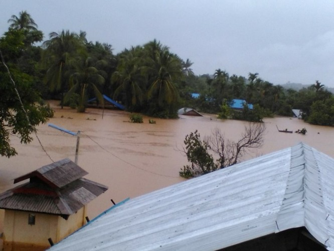 The flooded town of Ann, located in Arakan State. (PHOTO: Tharlay Rakhine).