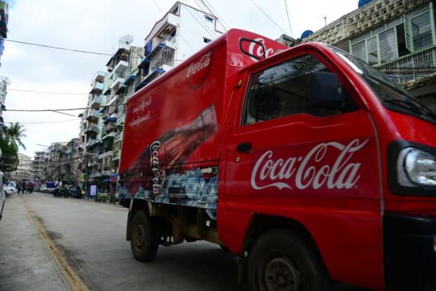 A Coca-Cola truck makes deliveries around Rangoon. (PHOTO: Coca-Cola).