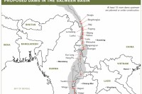 A map of all the proposed dams along the Salween basin. (PHOTO: International Rivers).
