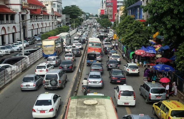 Gridlock in Rangoon: traffic grinds down commuters