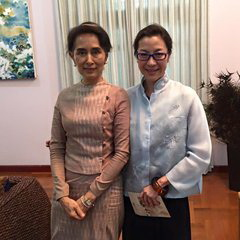 """It was such an honour and pleasure to meet Daw Suu again,"" wrote Michelle Yeoh on her Facebook."